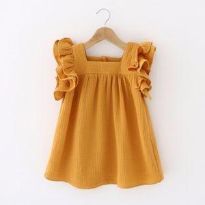 Toddler Girls' Frill Sleeve Mustard Fly Dress